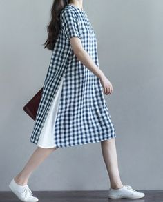 Women loose fitting over plus size plaid checkers dress long tunic pregnant chic