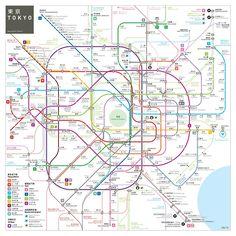 'Tokyo Metro Map' Art Print by Jug Cerovic Metro Subway, Subway Map, Transport Map, Public Transport, Tokyo Subway, Tokyo Map, Underground Map, Train Map, Metro Map