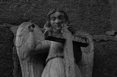 Funerary angel on the right side of the Romanesque Church of Saint Andrew of Hío (XII century). Cemetery Art, St Andrews, Romanesque, Garden Art, Statues, Saints, Campaign, Nyc, Content