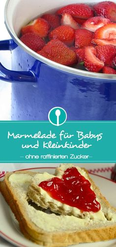 Make jam for children yourself - with coconut blossom sugar- Marmelade für Kinder selber machen – mit Kokosblütenzucker Recipe for jam without refined sugar. Also suitable for babies and toddlers. Jam Recipes, Chef Recipes, Baby Food Recipes, Toddler Meals, Kids Meals, Baby Snacks, Baby Finger Foods, Homemade Baby Foods, Healthy Eating Tips