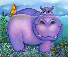 canvas art for kids | Items similar to Hippo Canvas print - Nursery Art for Kids on Etsy