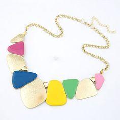 personality fashion geometric square shape pendant short necklace (Multicolour)