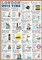 English worksheet: London-Quiz time (Key included)