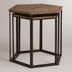 Tables - Iliana Nesting Tables, Set of 2 | World Market - hexagonal nesting tables, parquet top nesting tables, wood and iron nesting tables... Rough Luxe Lifestyle Friday Fun Stuff-Cheap Chic Side Tables Under $200
