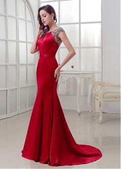 e031cc5f2d Elegant Satin Bateau Neckline Mermaid Evening Dresses With Beadings  Beautiful Evening Gowns