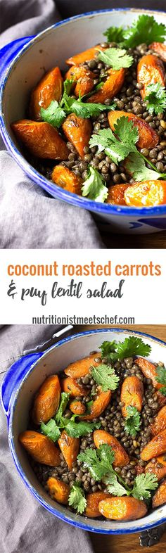 Coconut Roasted Carrot and Puy Lentil Salad! A hearty warm salad that is gluten free and vegan! Serve with a piece of bread for extra energy, and if you eat eggs, a poached egg is lovely to top this salad!