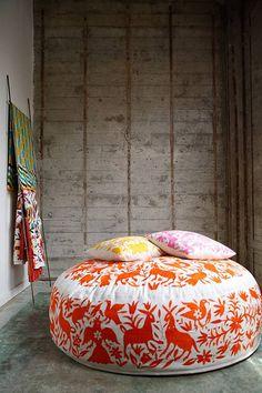otomi print otomi ottoman with otomi pillows