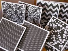 12 3 by 3 inch gray and white pattern paper note cards with matching envelopes by memories4alifetime on Etsy