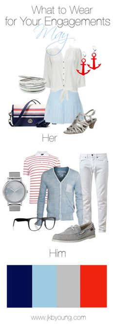 What to wear engagement couples session May, spring time - nautical - in mint red, navy, sky blue and grey/silver