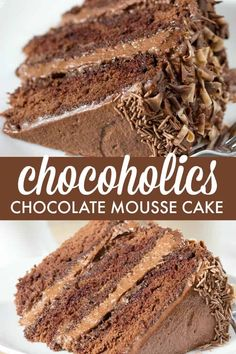 Chocolate Mousse Cake - Luscious and rich, this dessert recipe will satisfy your sweet tooth!Chocoholics Chocolate Mousse Cake - Luscious and rich, this dessert recipe will satisfy your sweet tooth! Chocolate Mousse Cake, Chocolate Desserts, Chocolate Cheesecake, Chocolate Cake With Mousse Filling Recipe, Chocolate Desert Recipes, Chocolate Mouse Recipe, Chocolate Mousse Frosting, Chocolate Christmas Cake, Chocolate Biscuit Cake