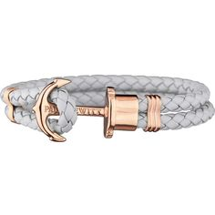 PAUL HEWITT Phrep leather and rose gold-plated stainless steel... ($60) ❤ liked on Polyvore featuring jewelry, bracelets, braid jewelry, rose jewelry, anchor jewelry, rose jewellery and leather bangles
