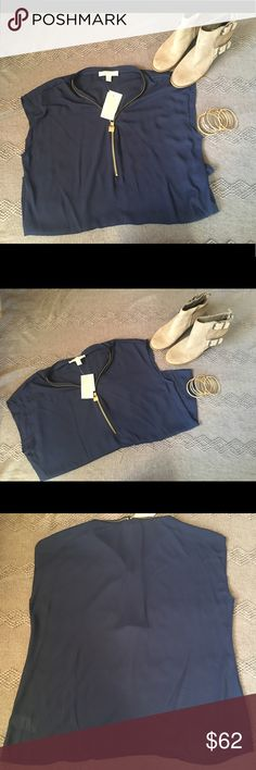 NWT!!! Michael Kors Sleeveless Sheer Blouse! NWT!!! Michael Kors sleeveless sheer blouse in navy. Gold zipper detail goes about 1/2 way down the front and around the neckline - love this detail! Would be perfect for a holiday party with a sparkly cami underneath! 100% polyester MICHAEL Michael Kors Tops Blouses