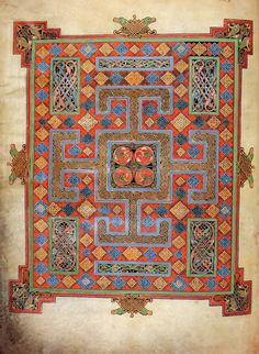 the lindesfarne gospels | Folio 138 verso from the Lindisfarne Gospels; cross-carpet page before ...