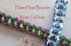 Made with the Monster Tail Loom.  *Zuzu*  Flower Heart Bracelet - Monster Tail Design
