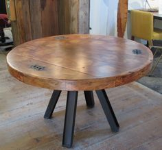 Dining table made from reclaimed wood industrial pattern with reclaimed i-beams as legs