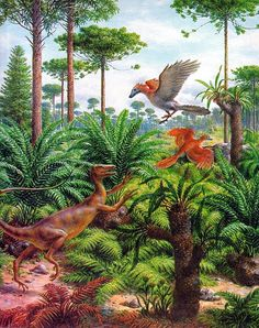 Rudolph Zallinger - An Ornitholestes jumping at Archaeopteryx