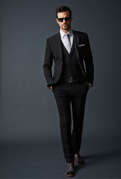 Mens 3 piece black suit | Raddest Men's Fashion Looks On The Internet: http://www.raddestlooks.org