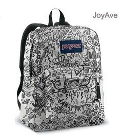 51d5917cdc01 Jansport Superbreak Backpack School Bag - Black   White Doodle for girls  (Chocolate Lab Accessories)