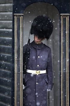 A soldier of the Scots Guards peers out of his sentry box to the snow at St James's Palace in London