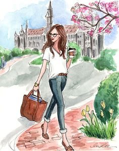 campus survival gear: big bag, comfortable shoes, and coffee