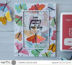 Nichol Spohr LLC: Waffle Flower Crafts It's In The Details | Pretty Wings Custom Stamped Background Card