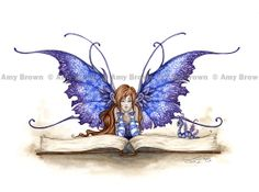 Books and fairies-doesn't get any better!  PRINTS-OPEN EDITION - Faeries - Amy Brown Fairy Art - The Official Gallery