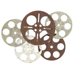 "Film Reels Wall Decor~Living Room $79.98 Made of wrought iron and distressed for an aged/antiqued appearance. 30.75""W x 22.5""H"