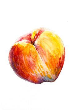 Peach Watercolor Still Life, Original Painting, Fruit Art