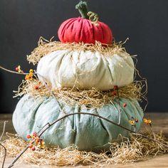 DIY Heirloom Cinderella Fabric Pumpkin Stack (uses drop cloth)