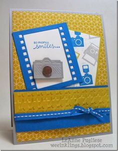 """stamped my own DP with the camera images from Around the World, then I added a little """"lens"""" on the diecut camera with the silver foil paper"""