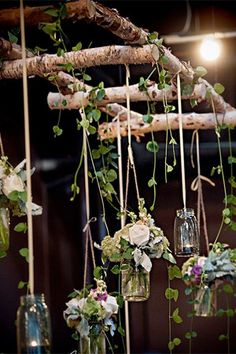 hanging mason jar filled with fresh flowers - brides of adelaide