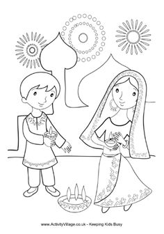 Children lighting diya for Diwali. Specially for Diwali, here's a fun coloring page for younger children featuring two children lighting diya to encourage the goddess Lakshmi into their home.