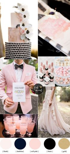 blush wedding ideas, blush and black wedding colors, modern wedding ideas, kate spade inspired