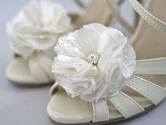 Ivory Wedding Flower Shoe Clips set of  2