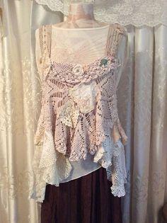 Shabby Doily Top gorgeous romantic vintage crochet doilies
