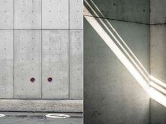 Sichtbeton-Vergleich: links mit vorfabrizierte Elemente, rechts in Ortbeton