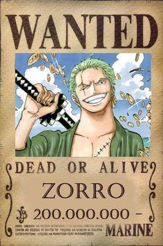 roronoa zoro, wanted poster  zoro 200,000,000
