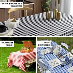 """Buffalo Plaid Tablecloths   90""""x156"""" Rectangular   White/Blue   Checkered Polyester Linen Tablecloth   eFavorMart Blue Kitchen Curtains, Seafood Boil Party, Picnic Blanket, Outdoor Blanket, Plaid Tablecloth, Checker Design, Event Themes, Picnic Time, Table Covers"""