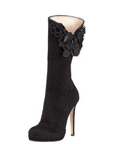 Suede Floral-Applique Boot by Oscar de la Renta at Bergdorf Goodman.