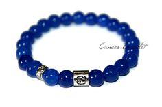 Cancer Bracelet Zodiac Bracelet Horoscope Gift for Him Sapphire Bracelet Birthday Bracelet Healing Crystal Cancer Jewelry Blue Bead Bracelet