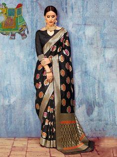 Black Silk Saree with Weaving