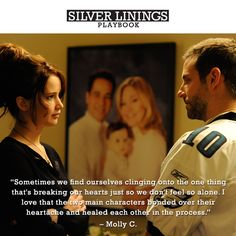 """Sometimes we find ourselves clinging on to the one thing thats breaking our heart.."" Great quote from a great movie :) loved it!  -Sliver Linings Playbook"