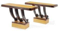 A Pair of Burr Maple, Faux Macassar Ebony and Chrome Console Tables, French, Circa 1930
