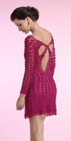 crochelinhasagulhas: Vestido vermelho e rosa em crochê by Giovana Dias