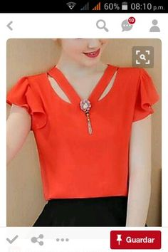 Women's Casual/Daily Simple Spring Fall Blouse,Solid V Neck Short Sleeve Polyester Sheer Dress Neck Designs, Blouse Designs, Red Blouses, Blouses For Women, Dressy Tops, Blouse Online, Women's Fashion Dresses, Ideias Fashion, Women's Casual
