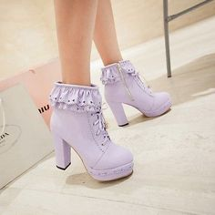 Lolita Sweet Girls Lace Platform High Block Fashion Womens Lace Up Ankle Boots