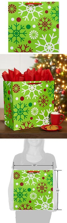 American Greetings 5679455 Multi Snowflakes Extra-Large Gift Bag, Multi-Colored