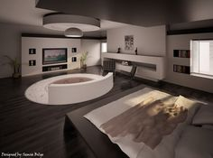 Modern Bedroom Jacuzzi with Romantic Style