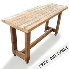Retro Recycled Country Farmhouse High Bench Table in Natural with Wheels