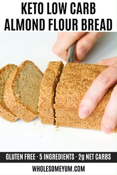 Easy Low Carb Bread Recipe - Almond Flour Bread (Paleo, Gluten-Free) - This almond flour bread may be the best low carb bread recipe yet! The texture is just like wheat bread. Gluten-free, paleo, & made with only 5 INGREDIENTS. Source by wholesomeyum Easy Low Carb Bread Recipe, Best Low Carb Bread, No Bread Diet, Lowest Carb Bread Recipe, Best Bread Recipe, Recipe 4, Carb Free Bread, Grain Free Bread, Bomb Recipe